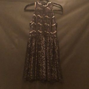 Black & Gold Lace Velvet Dress